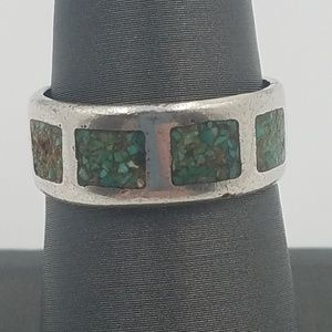 Jewelry - Sterling Silver Ring with Chipped Turquoise Inlay